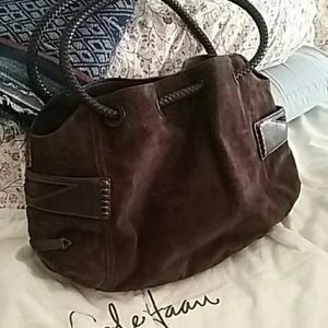Cole Haan Chocolate Suede/ Leather Denny Hobo Bag